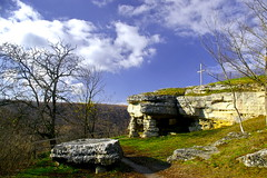 IX Century Slavic Stone Temple (tcherana) Tags: trip sky reflection fall reflections river landscape scenery colorful europe view riverside pentax kitlens ukraine views 1855 dslr riverbank banks easterneurope cpl circularpolarizer        weirdclouds   pentaxdslr pentaxlens easternukraine  k100d  pentaxkitlens ternopiloblast ukrainianlandscape ukrainianscenery smcpentaxda1855mmf3556al cherana tcherana ukrainianrivers riversofukraine platinumheartaward thisphotorocks pentaxk100dsuper astoundingimage attheriverbank sceneriesofukraine landscapesofukraine   oblastofternopil