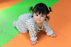 Happy baby crawl on colorful floor (Spice  Trying to Catch Up!) Tags: portrait baby color cute girl face japan female canon mouth geotagged asian nose person japanese eyes infant asia child human  tao mata  halfjapanese loveofmylife ilong  babae mixedrace mukha            sanggol  2013   bibig     cutehija