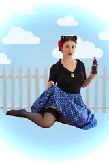Maddison Fleming (Caitemily) Tags: blue sky cute girl beautiful clouds vintage outdoor girly redrose coke victory cheeky polka retro 1950s innocence cokebottle rolls charming dots whitepicketfence vignette pinup owls cutepose pinupgirl victoryrolls owlearrings risquay retrocokebottle