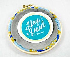 Blue and Yellow Uterus Anatomy Embroidery Hoop Art. Hand Embroidered. (Hey Paul Studios) Tags: woman female lesbian embroidery wallart anatomy etsy uterus needlecraft bathroomart blueyellow womensrestroom medicalart recycledtie giftfordoctor