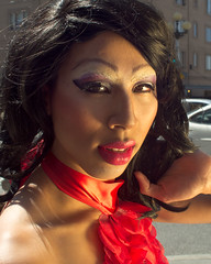 Drag: The Red Dress (TNguyen1989) Tags: seattle lighting gay red summer asian fun drag downtown dress photoshoot legs makeup saturday tourists wig wa pikeplacemarket sheer