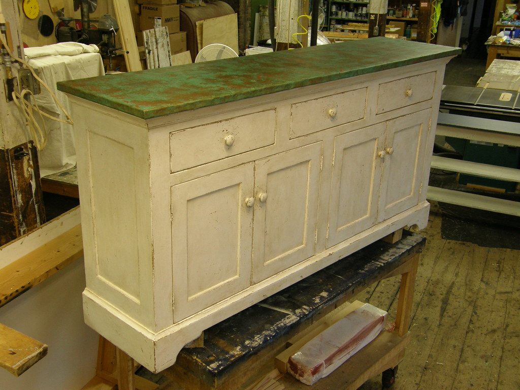 Sideboard With Green Patina Copper Top (Mitchell J Rudman .