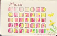 2013_03_01_Calendar (blue_belta) Tags: pink flower art moleskine yellow design march sketch spring calendar ye coloredpencil アート 春 色鉛筆 チョウチョ デザイン カレンダー スケッチ モレスキン