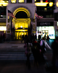 New York at Night (hpaton1) Tags: newyorkcity night manhattan americanflag storefront pedestrians crosswalk canoneos1dsmarkii lensbabysweet35