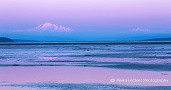 Mount Baker Twilight (PIERRE LECLERC PHOTO) Tags: ocean travel blue sunset sea usa mountain canada reflection beach nature canon landscape outdoors eos volcano washington twilight purple dusk britishcolumbia tide horizon peak shore summit boundarybay distance mountbaker 6d snowcappedmountains canon6d pierreleclercphotography