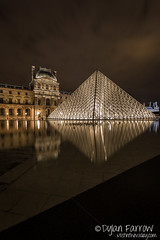Muse du Louvre (Dylan Farrow) Tags: paris france water night reflections europe louvre fountains 2012 pixelpost musedulouvre museedulouvre flickrpost canon5dmarkiii