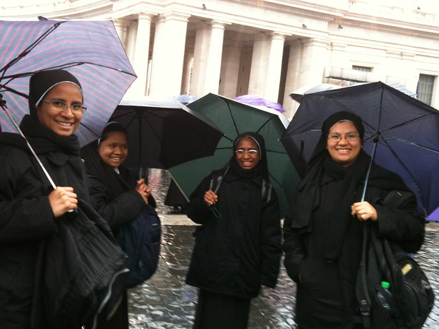 Young novices waiting for smoke in St Peter's Square