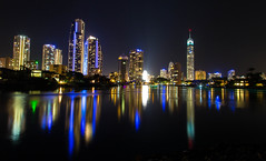 Surfers Paradise Skyline (sandynfowler) Tags: longexposure water skyline night buildings reflections river landscape nightscape australia citylights queensland lighttrails surfersparadise goldcoast canon6d flickraward5