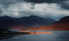 Sunset Over Ullapool (Philipp Klinger Photography) Tags: ocean city uk greatbritain blue light sunset shadow red sea sky cloud sun mountain fish storm mountains cold water clouds dark evening scotland town ross highlands fishing nikon warm bright zoom unitedkingdom britain united hill great scottish kingdom stormy spot atlantic hills highland fisher and tele scotch cromarty philipp atlanticocean d800 ullapool rossandcromarty klinger