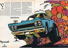 1968 Plymouth Road Runner Stitched Advertisement Hot Rod Magazine May 1968pano (SenseiAlan) Tags: road hot magazine may plymouth advertisement rod 1968 runner stitched 1968pano