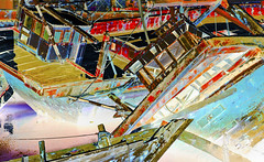 Boat Graveyard India Texture (arfabita) Tags: texture industry water colors horizontal river landscape boat colorful ship sundown background flag indian flags estuary business crew photograph repair concept conceptual shipping salvage breezy reparing gujarat boatyard engineers seacraft outofservice woodenboats rendition scrapped servicing shipwrecked boatrepair boatgraveyard boatrepairs