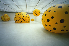 "YAYOI KUSAMA ""Big in Japan"", 1 (Vygintas R.) Tags: color art film june yellow japan iso400 infinity voigtlander balloon 35mmfilm 2009 bessal lithuania vilnius avantgarde yayoikusama lietuva kodakportra400nc nikoncoolscan5000 mc  voigtlanderheliar15mmf45 vygintasrainskas 335109 begalyb"