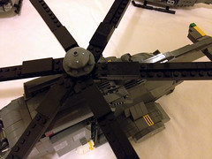 Close-in on the rotor (jskaare) Tags: lego jeep military huey helicopter soldiers custom humvee hmmwv pmc iroquois sikorsky contractors antiair