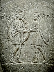 Closeup of engraving of the two warriors Archiades and Polemonikos on a gravemarker Greek 400 BCE Marble (mharrsch) Tags: oregon portland soldier greek death tombstone burial warrior britishmuseum gravemarker portlandartmuseum 5thcenturybce bodybeautiful mharrsch