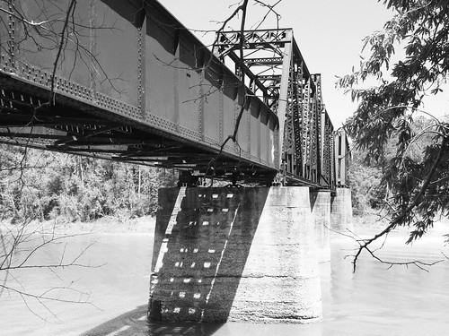 Through Truss Railroad Swing Bridge over Sabine River, Bon Wier, Texas 1304131414BW