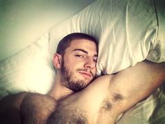 Wake up! (Aloman*) Tags: morning light toronto guy face naked bed wake body muscle sleep chest sheets sleepy wakeup mammothfilter