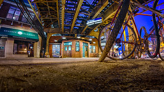 Damen Ave. L-Train Blue Line in Wicker Park (RobertPhotographics) Tags: wickerpark chicago night illinois blueline pentax fisheye l ltrain nik bluehour damen hdr lowangle inspiredbylove rokinon