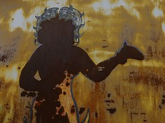 Betty's Ghost (Clutching at Photons) Tags: shadow urban japan metal painting tokyo rust asia peeling decay ghost rusty betty rusted damaged bettyboop boop decayed