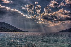 Sun rays (Vagelis Pikoulas) Tags: blue light sunset sea sky sun mountains west colour reflection beach clouds canon landscape eos spring kiss europe niceshot view greece porto western 1855mm hdr x4 attiki vilia germeno 2013 550d abigfave colorphotoaward bestcapturesaoi mygearandme kithairwnas mygearandmepremium mygearandmebronze mygearandmesilver ringexcellence musictomyeyeslevel1