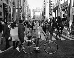 Ginza style (Richard Buttrey) Tags: bw film monochrome bike bicycle japan mediumformat tokyo ginza crossing style scan medium format 6x7 67 gangnam mamiya7