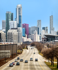 The Drive (Sky Noir) Tags: city travel urban lake chicago skyline photography drive illinois day cityscape lsd il clear shore thedrive outerdrive skynoir