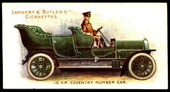 Cigarette Card - Coventry Humber 1908 (cigcardpix) Tags: vintage advertising ephemera automobiles cigarettecards motorcar