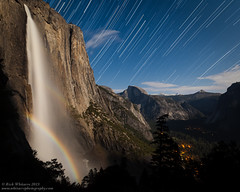 Double Moonbow and Star Trails (Rick Whitacre) Tags: moon yosemitefalls waterfall yosemitenationalpark yosemitevalley startrails moonbow earthandspace starcircles astro:subject=startrail astro:subject=moonbow astro:gmt=20130426t0900