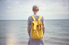 (333Bracket) Tags: fujicast605 fujinon55mmf22 333bracket london 35mm film analogue sea ocean girl bag dress sky blue water back hair blonde tattoos dof whitstable
