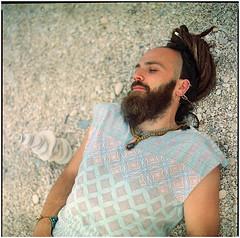 .swimming in the lake of melted rocks (Herr Benini) Tags: stones steine sassi marche 6x6 anaolg kiev88 analog beard bart barba