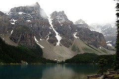 Overcast (Patricia Henschen) Tags: canada nationalpark banff alberta morainelake glacial lake reflections rockies northern rockymountains mountains