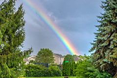A dash of color after the storm (tquist24) Tags: goshen hdr indiana nikon nikond5300 afternoon clouds color rainbow sky summer thunderstorm tree trees