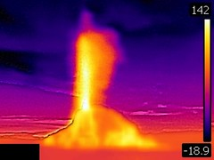 Thermal image of White Dome Geyser eruption (9:47-9:49 PM, 8 June 2016) 1 (James St. John) Tags: white dome geyser group lower basin yellowstone hotspot volcano wyoming erupt erupts erupting eruption eruptions thermal image photo picture temperature
