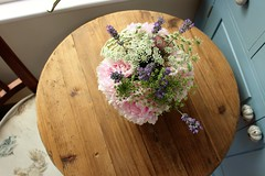 Table Bouquet (Josiedurney) Tags: summer uk england flowers garden plants green nature natural light daylight landscape pretty spring countryside british colour outside bouquet babys breath lavendar rose pink purple lilac white blue village town olney