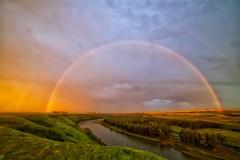 Red Rainbow 14mm Caresland Alberta (John Andersen (JPAndersen images)) Tags: alberta bowriver caresland lightning longexposure redrainbow storm sunset