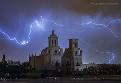 San Xavier Mission (Saguaro Pictures) Tags: sanxavier whitedoveofthedesert mission oldchurch iconictucson delbac tucson arizona lightning storm monsoon