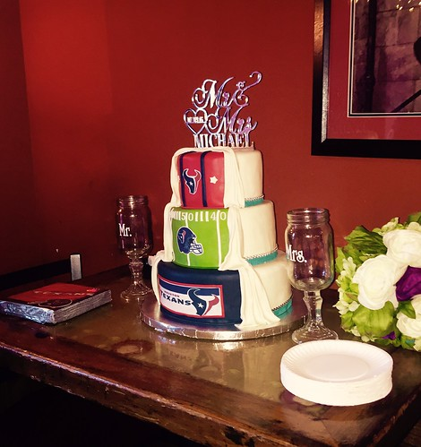 Half Houston Texans Wedding Cake