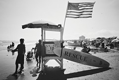 DR1-E022 (David Swift Photography Thanks for 18 million view) Tags: davidswiftphotography newjersey oceancity beaches lifeguard lifeguardstands surfboats surfboard americanflag beach atlanticocean 35mm film coastline yashicat4 ilfordxp2