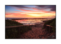 Sandy path to the beach at dawn sunrise (sugarbellaleah) Tags: beach sunrise path sandy pathway fun leisure recreation morning dawn skies colour vibrant red blue yellow rocks reflections ocean seascape northernbeaches sydney australia pretty beautiful
