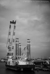 Seajacks Scylla in Rotterdam (martijnvdvelden) Tags: seajacks scylla port rotterdam vessel netherlands harbour amazing huge big coulds black white