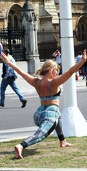 Parliament Square Girls (Waterford_Man) Tags: london athletic hot skinny strong sporty leotard girl blonde candid people summer