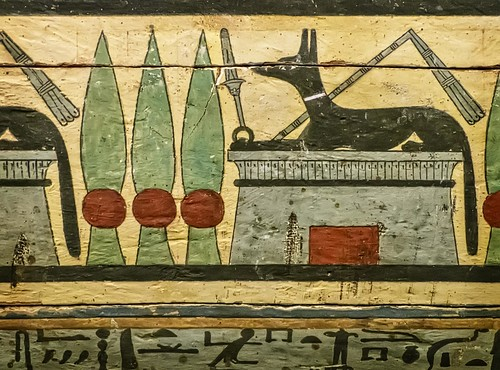 Closeup of Outer coffin of Meret-it-es Egypt Late Period to Ptolemaic Period, 30th Dynasty to early Ptolemaic Dynasty 380-250 BCE Wood Pigment and Gesso