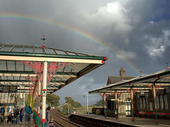 Rainbow at Grange over Sands - 4 (Tony Worrall) Tags: england northern uk update place location north visit area county attraction open stream tour country welovethenorth northwest unitedkingdom cumbria cumbrian grange grangeoversands nature beauty rainbow scene sky natural lovely color colours great station grangestation railway