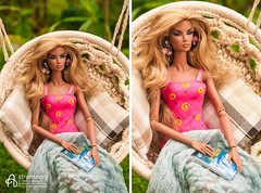 Angelica (astramaore) Tags: 16 brazen beauty nature natalia fashion fashionroyalty fashiondoll toy doll astramaore cushion plaid lounge swing blonde tan tanned summer greeneyes pink blue green magazine earrings