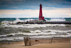 Windy Day . . . (Dr. Farnsworth) Tags: muskegon harbor lighthouse waves lakemichigan surf kiteboarders seagulls snowfence sand westlake mi fall september2016