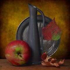 Autumn Poetry (njk1951) Tags: apple pewter plate pitcher leaf autumn autumnleaf redapple goldenlight curledleaf table woodentable squareformat stilllife