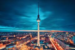 Berlin City Nights 3 (ill-padrino www.matthiashaker.com) Tags: city blue berlin tower alex church night abend tv nightshot cityhall dom hour alexanderplatz fernsehturm rathaus mitte berliner rotes