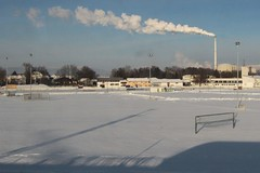 Chimney smoke over a snow covered soccer field (Marcus Wong from Geelong) Tags: vienna railroad travel train germany austria frankfurt rail railway deutschebahn ice3 europe2012