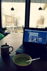 Breakfast (Merwel) Tags: morning cup coffee breakfast soup laptop owl chickensoup owlcup tumblr