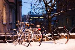 Bikes, winter afternoon (Fredrik Forsberg) Tags: winter snow dark evening sweden stockholm dusk weekend bikes canonfd35mmf28 nex6