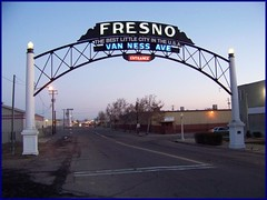 Fresno Welcome Arch over Van Ness Avenue , Fresno ,Ca. this was the main route into town when the arch was built in 1917. Now it's a hard-to -find back route into the warehouse district. (Bob the Real Deal) Tags: california sign entrance landmark historic fresno neonsign neonsigns vannessave vannessavenue entrancesign kodakz712 kodakz712is oldsigs thebestlittlecityintheusa fresnowelcomearch fresnowelcomesigh